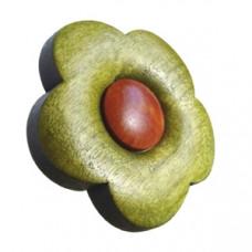 Meubelknop bloem gelakt hout - groen