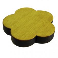 Meubelknop bloem gelakt hout - geel