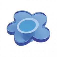 Kastknop bloem groot blauw - meubelknop kinderkamer