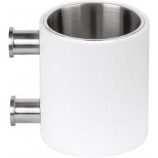 PIET BOON PB103 tandenborstelhouder met muurbevestiging mat roestvast staal AISI316/wit Corian®
