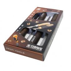 Set schietbeitels - 4 maten met beuken houten handvatten