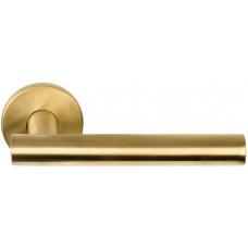 Basics LBVII-19 massieve deurkruk geveerd op ronde rozet PVD mat goud