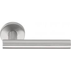 Basics LBVII-19 massieve deurkruk geveerd op ronde rozet mat roestvast staal