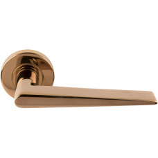 Basics LBXXI massieve deurkruk geveerd op ronde rozet PVD glans rood koper