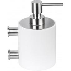 PIET BOON PB503 zeepdispenser met muurbevestiging mat roestvast staal AISI 316/wit Corian®