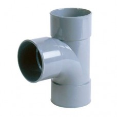 PVC T-stuk 90 graden 75 mm, mof - mof - mof