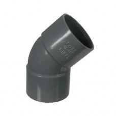PVC lijmbocht 45° 75 mm, mof - mof