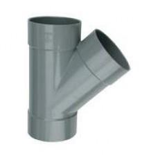 PVC spruitstuk - Y-stuk 45° 75 mm, mof - mof - mof