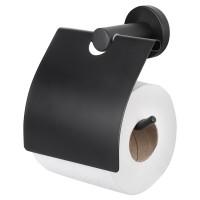 Mat zwarte WC rolhouder met klep