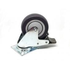 Zwenkwiel op plaat met rem, wiel diameter 75 mm